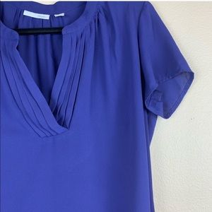 • Halogen • Blue Chiffon V-Neck Blouse